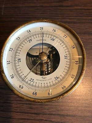 """Vntg 5"""" Taylor Rochester NY Nautical COMPENSATED Barometer millibars Brass Case."""