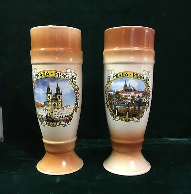 Pair of Vintage Prague Czech Republic Steins