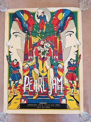 Pearl Jam Barcelona Concert Show Poster by Van Orton. July 13th. Excellent cond.
