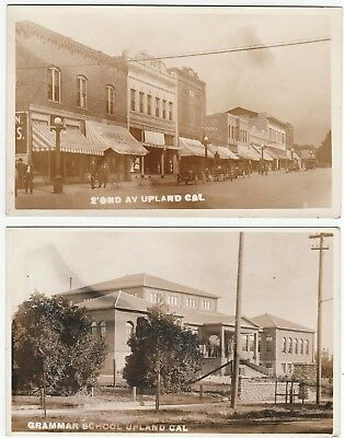 RARE Real Photo LOT of 2 - Upland CA c1912 Street Scene Stores School RPPC