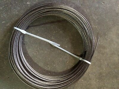 (100 Ft) T-304 Grade 7 x 7 Stainless Steel Aircraft Cable Wire Rope 1/8""