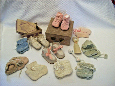Vintage (3) Baby Shoes (7) Knitted Crocheted Booties Shoe Horn Rattle Boxes