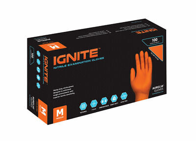 Aurelia Ignite 7.0 mil HEAVY DUTY Textured Orange Premium Nitrile Gloves