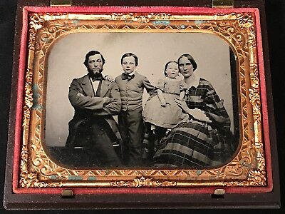 1/4 Plate Ruby Ambrotype Of Family In Fancy Thermoplastic Case, 1856