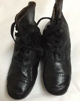 "Antique Boys  Black Leather Childs  Dress Boots-Lace Up    5 1/4  "" Long"