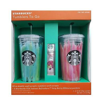 Starbucks Tumblers To Go 20 oz. Acrylic Cold Cup 2 Pack Pink & Green Set