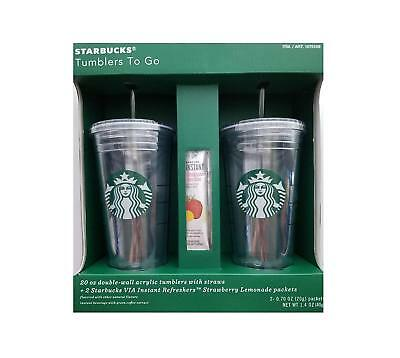 Starbucks Tumblers To Go 20 oz. Double-Wall Acrylic Cold Cup 2 Pack w/ Straws