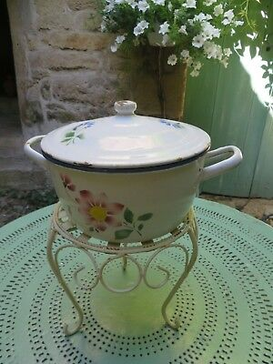 Delightful Antique French Floral Enamel Country  Cook Pot ~ For Period Display