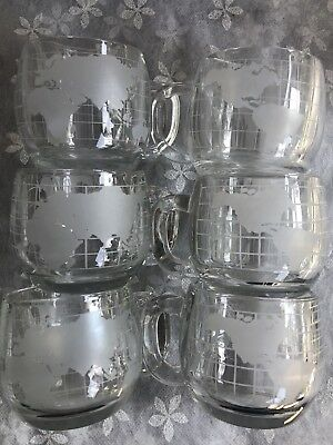 Vintage Nestle Globe Frosted Coffee Mugs / Cups Set Of 6