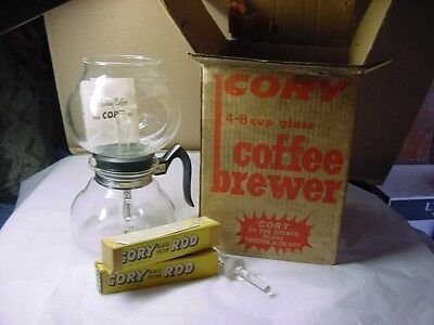 Vintage 4-8 Cup Glass Cory Coffee Brewer Unused In Box & 4 Glass Filter Rods