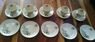 vintage afternoon tea set for 5,  Lord Nelson pottery cup saucer plate
