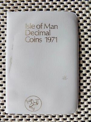 ISLE of MAN. Six Coin Decimal  Set 1971. Royal Mint issue. White wallet.