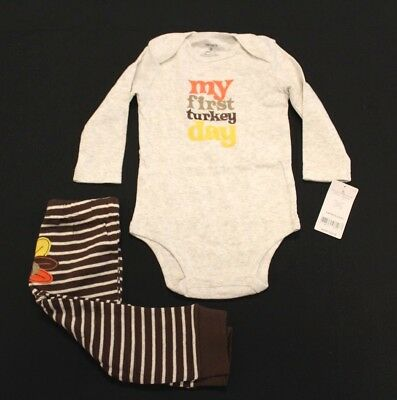 cd7b9e7eb Carters Boys First Turkey Day 100% Cotton Bodysuit & Pants Set BF5 Size 9M  NWT