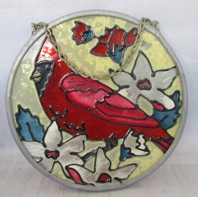 Cardinal hanging round stained glass style acrylic ornament