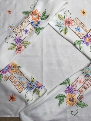 """Exquisite Vintage Tablecloth Embroidered Colourful Flowers White Linen VGC 49"""""""