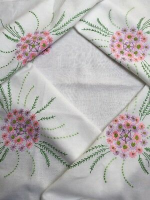 """Exquisite Vintage Tablecloth Embroidered Colourful Flowers White Linen VGC 47"""""""