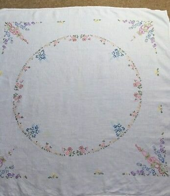 """Wonderful Vintage Tablecloth Embroidered Colourful Flowers White Linen VGC 41"""""""
