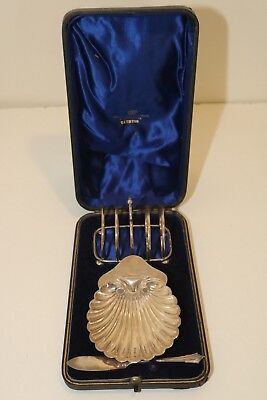 Antique Josiah Williams & Co Sterling Silver Toast Rack Butter Dish & Knife Set
