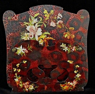 Antique, Victorian paper mache wall pocket. Hand painted.
