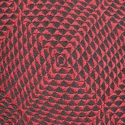 LANVIN TIE Geometric Check in Red Skinny Woven Silk Necktie