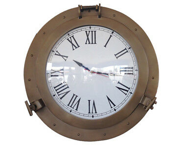 "Ship's Cabin Porthole Clock Antique Brass Finish 24"" Aluminum Hanging Wall Decor"