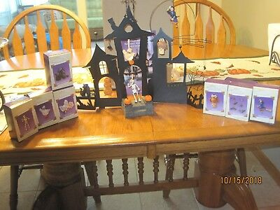 2003 Hallmark Halloween Haunted House with Sound and 8 Ornaments with Boxes