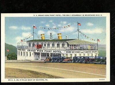 T338 Souvenir Linen Postcards Grand View Point Hotel Steamboat Bedford PA WV MD