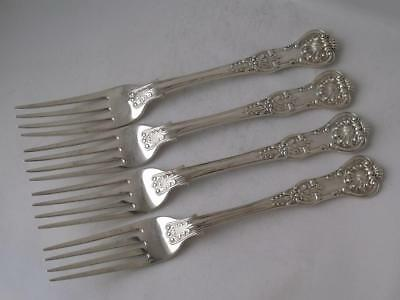 Heavy Set of 4 Antique Queens Pattern Solid Silver Table Forks 1841/ 407 g
