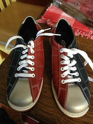 d10ad41dcdad Classic Products Corp Rental Bowling Shoes Red Silver Blue Mens Size 8 Fun