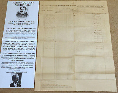 CIVIL WAR MARCH To SEA MAJOR 31st WISCONSIN INFANTRY DOCUMENT SIGNED by28 TROOPS