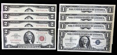 4 Consecutive 1963 $2 Red Seals and 1957-B $1 Silver Certificates Crisp Unc