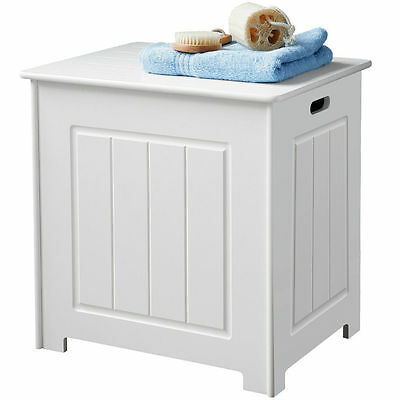 New England Inspired White Wood Deluxe Laundry Storage Bathroom Furniture Unit