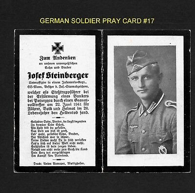 German Death Card - From Ww Ii - Sargent In A Storm Tropper Regiment - Lot 17