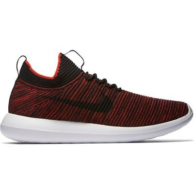 4e6cc9e124a72 Nike Mens Roshe Two Flyknit V2 Chile Red Black White Mens Running Casual