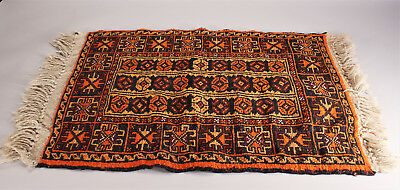 Vintage Small Hand Knotted Rug Turkish or Afghan Red and Orange Tribal