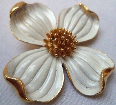 "Stunning Vintage Estate Signed Crown Trifari Enamel Flower 1 1/4"" Brooch! 1531I"