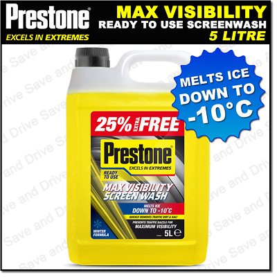 Prestone Screen Wash Ready To Use Pre Mixed Headlight & Screenwash Fluid  5L
