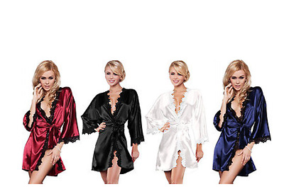 Women valentines day Nightdress Satin Lace Kimono Lingerie Dressing Gown Robe