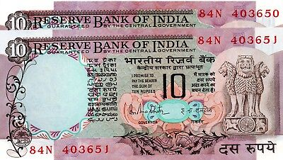 INDIA 10 Rupees ND 1985-1990 P81g Letter B x 2 Consecutive UNC Banknotes