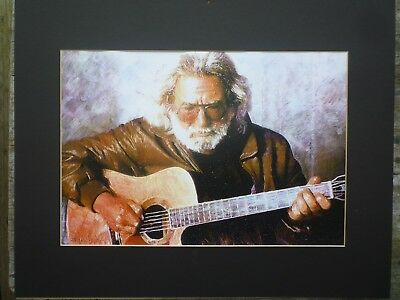 "Jerry Garcia Print -  Playing Acoustic Guitar - Grateful Dead 10 1/4"" x 15"""