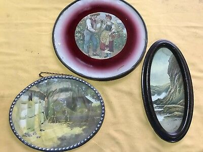 Lot Of 3 VTG Pictures-Oval Tin-flue Pictures
