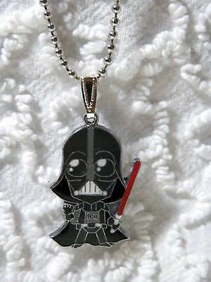 "New Star War VADER Charm Pendant On 24""  Silvertone Beaded Chain Necklace N 406"