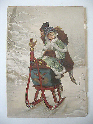 """""""Ice Sleighing Couple""""  /  chromolithograph  /  Demorest's Magazine  /  1886"""
