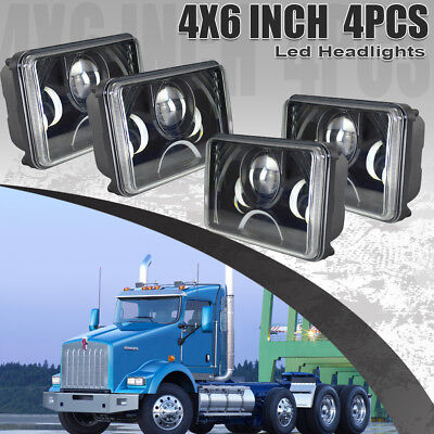 "4PCS 4x6"" LED Headlights For Kenworth T400 T600 T800 W900B Classic 120/132"