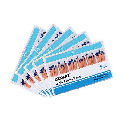 5 Box AZDENT Dental Root-Canal Obturating Points Gutta Percha Points Tips F3