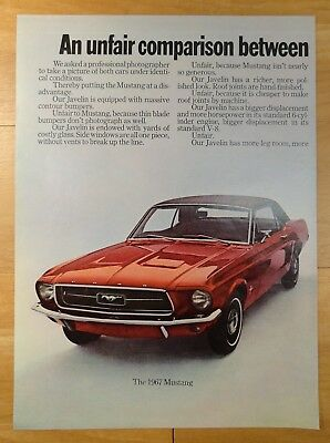 1967 Javelin vintage ad, Mustang side of a 2 page ad