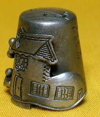 NICHOLAS GISH Pewter OLD WOMAN WHO LIVED IN A SHOE Open Door THIMBLE Stamped