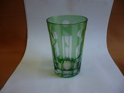 Vintage Green Ground Glass Tumbler Unusual Cut Glass.