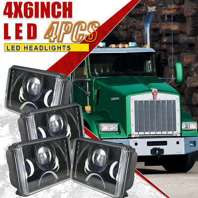 "4PCS 4x6"" LED Headlights Fit Kenworth T400 T600 T800 W900L Classic 120/132"