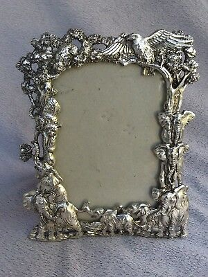 """ARTHUR COURT PICTURE FRAME JUNGLE ANIMALS Elephants 1995 6"""" by 4"""""""
